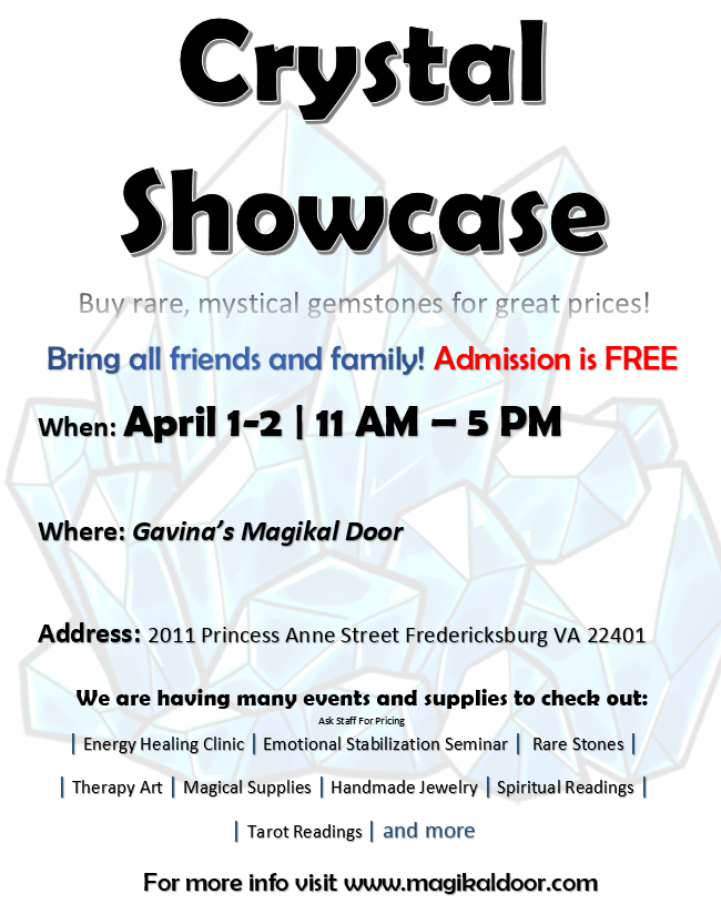 Gem Show Crystal Showcase Fredericksburg VA Gavinas Magikal Door
